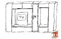 Skizzen-Zeichnung für einen TV-Schrank